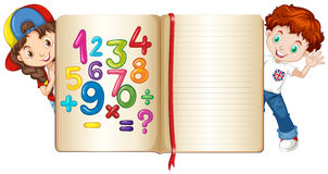 Boy and girl behind math book Stock Photography