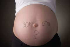 Boy or Girl belly. Seven month old belly with the question boy or girl written on it Stock Photos