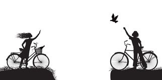 Boy and girl on bicycle waving each other and boy frees the pigeon, two lovers on the bicycle, black and white. Vector Royalty Free Stock Images