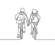 Boy and girl bicycling to school Royalty Free Stock Image