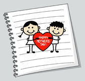 Boy and girl with big heart (cartoon doodle). Happy mothers day Royalty Free Stock Images