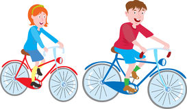 Boy and girl on bike. A girl and a boy riding their bicycles Stock Image