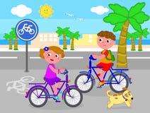 Boy and girl on bike vector. Cartoon children riding bikes on bicycle lane, vector illustration Stock Photo