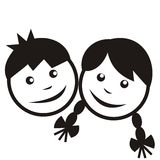 Boy and girl, black silhouette Royalty Free Stock Photo