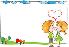 Boy and girl with blank card border Stock Image