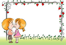 Boy and girl with blank card border Stock Photography
