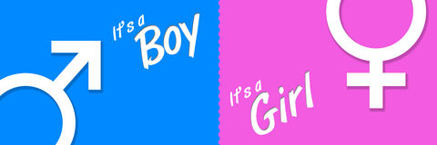 Boy Girl Blue Pink Banner. Image with two parts for boy birth and girl birth Royalty Free Stock Photography