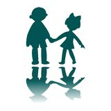 Boy and girl blue silhouettes Royalty Free Stock Images