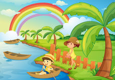A boy and girl are boating. Illustration of a boy and girl are boating Royalty Free Stock Photos