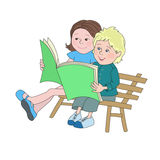 Boy and girl with book Royalty Free Stock Photo