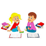 Boy and girl with book Stock Images
