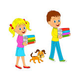 Boy and girl with book and dog Stock Photos