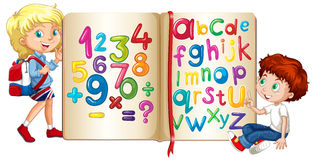 Boy and girl by book of numbers and alphabets. Illustration Stock Photo