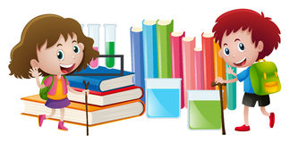 Boy and girl with books in background Stock Image