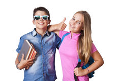 Boy and girl with books Stock Images