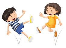 Boy and girl bouncing Stock Photos
