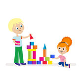 Boy and girl build a high tower of colorful cubes. Playing children. Flat character isolated on white background. Vector royalty free illustration
