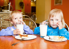 Boy and girl in the cafe Stock Photography