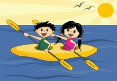 Boy and Girl in Canoe. Cute cartoon boy and girl in canoe Royalty Free Stock Images