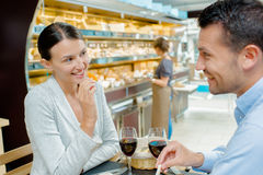 Boy and girl in canteen Stock Image