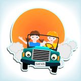 Boy and girl in car. Boy and girl in blue car with and sun - kid  illustration Royalty Free Stock Photo