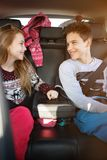 Boy and girl on car travels stock photography