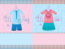 Boy Girl Card_eps. Illustration of design boy and girl card with seamless pattern background Stock Photography