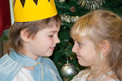Boy and girl in carnival costumes Royalty Free Stock Photos