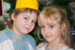 Boy and girl in carnival costumes Stock Photography