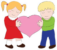 Boy and girl. Carry the pink hearth royalty free illustration