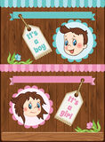 Boy and girl cartoon baby template Stock Image