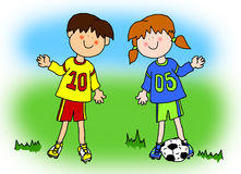 Boy and girl cartoon soccer player. Fun boy and girl cartoon outline playing soccer or football in their team uniform (large format Royalty Free Stock Image