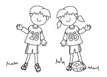 Boy and girl cartoon soccer player. Fun boy and girl cartoon outline playing soccer or football in their team uniform (large format Stock Photography