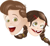 Boy girl cartoons. A cartoon boy and girl, both laughing with humorous expressions Stock Photo