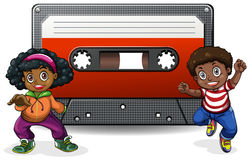 Boy and girl with casette tape Royalty Free Stock Images