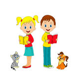 Boy,girl, cat and dog with book Royalty Free Stock Image