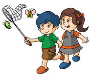 Boy and Girl catch butterfly Royalty Free Stock Photos
