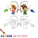 Boy and girl caught fish. Two cartoon baby - boy and girl - catch fish. Fisherman and fisherwoman. Coloring book for children. Page to be color for kid playing Stock Photo
