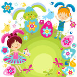 Boy and girl celebrating easter. Boy and girl in bunny costume ready to ornate the easter eggs Royalty Free Stock Image