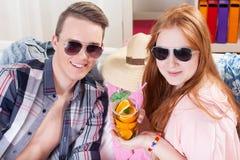 Boy and girl celebrating vacation Royalty Free Stock Photos