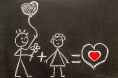 Boy and girl on chalkboard. Sweet love. Creative love. Royalty Free Stock Photos