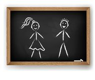 Boy and girl on chalkboard Stock Image