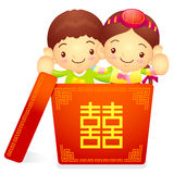 A boy and a girl character in a big box. Korea Traditional Cultu Royalty Free Stock Photography
