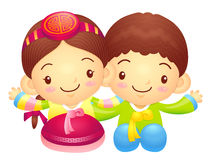 Boy and Girl character couples are welcome to sit. Korea Traditi Royalty Free Stock Photography
