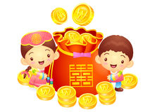A boy and a girl character in a  lucky bag. Korea Traditional Cu Royalty Free Stock Photos