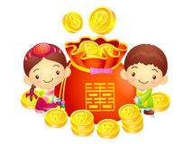 A boy and a girl character in a  lucky bag. Korea Traditional Cu Royalty Free Stock Images