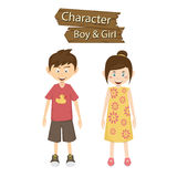 Boy and Girl character vector illustration Royalty Free Stock Images