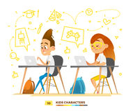 Boy and girl characters studying in a classroom Royalty Free Stock Photography