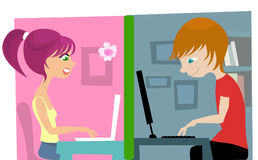 Boy and girl on the chat Stock Photography