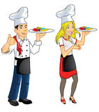 Boy and Girl Chef. College Boy and Girl Having Fun as Chef royalty free illustration